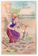 Litho Gold-Präge AK Glückwunsch Neujahr Kind Mit Besen Fegt Münzen Geld 1907 - Nieuwjaar