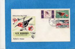 NLLE HEBRIDES-Enveloppe FDC-illustrée-1966 -série N°239-41-poisson -oiseaux - FDC