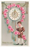 Litho Goldpräge AK Glückwunsch Neujahr Kind Mit Uhr Pendeluhr 1911 - Nieuwjaar