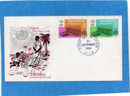 NLLE HEBRIDES-2- Enveloppes FDC-illustrée-1966 -série N°245-8-Français+Anglais - FDC
