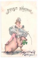 Litho AK PROSIT NEUJAHR Frau Dompteuse Reitet Auf Schwein Mit Glücksklee 1902 - Nieuwjaar