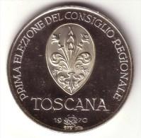 REGIONALI 1970: TOSCANA - Prime Elezioni - Argento 925 FDC, Fondo Specchio - Italia