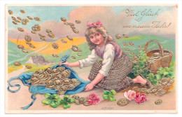 Litho Gold-Präge AK Glückwunsch Neujahr Kind Mädchen Mit Korb Sammelt Geld Münzen Ein - 1909 - Nieuwjaar