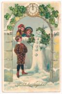Litho Goldpräge AK Glückwunsch Neujahr Kinder Schneemann Mistelzweige Uhr - 1912 - Nieuwjaar