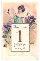 Litho Präge Jugendstil AK Neujahr Frau Mit Weinglas Sektglas Kalenderblatt 1904 - Nieuwjaar