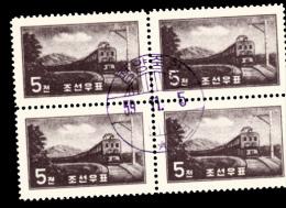RAILWAYS - NORTH KOREA- 1959  - LOCOMOTIVE BLOCK OF 4  FINE USED - Trains