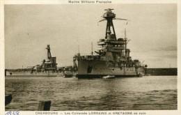 CHERBOURG  Cuirassés LORRAINE Et BRETAGNE 1938 - Warships