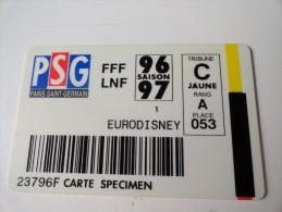 RARE :   CARTE SPECIMEN  : PSG  PARIS SAINT- GERMAIN / ERODISNEY - Sport