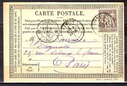 SAGE  Type II   15c  Gris Sur CP  De  CLAMECY Nievre    Pour PARIS   Le 3 Fev 1877 - 1876-1898 Sage (Type II)