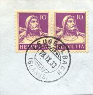 SCHWEIZ, SUISSE, SWITZERLAND,STEMPEL 1933, LEUGGELBACH (GLARUS) - Marcophilie