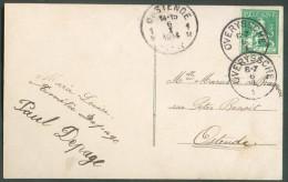 5 Centimes Pellens Obl. Sc OVERYSSCHE Sur C.V.du 6-I-1914 Vers Ostende - 10203 - 1912 Pellens
