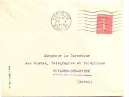 50 C Semeuse   DE  ROULETTE    Sur Lettre De PARIS  1929 - 1903-60 Sower - Ligned