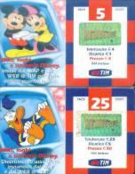 Italy Prepaid Cards: Disney, Mickey Mouse, Donald Duck (2pcs) - Italia