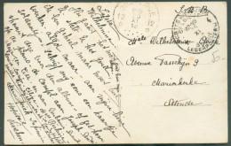 C.V. En S.M. Obl. S Postes Militaires Belgique 4 Du 16-XI-1918 Vers Ostende (arrivée : Cachet Agence De Fortune OOSTENDE - Marcophilie