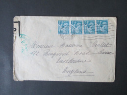Frankreich 1945 Beleg Nach England Mit Zensur! Controlé. Grüner Zensurstempel! Nr. 660 MeF - 1939-44 Iris