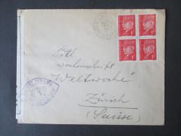 Frankreich 1942 Zensurbeleg In Die Schweiz. Controlé. Violetter Zensurstempel! Michel Nr. 521 Als Viererblock. MeF - France