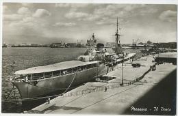Messina Il PORTO Con Barca Militare Foto C. 1950 - Messina