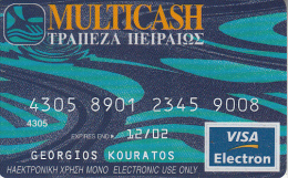 GREECE - Multicash, Piraeus Bank, Visa Electron, Used - Geldkarten (Ablauf Min. 10 Jahre)