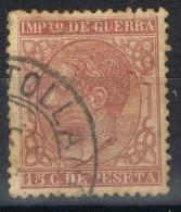 Sello 15 Cts Alfonso XII, Fechador Trebol PUERTOLLANO (Ciudad Real), Num 188 º - Impuestos De Guerra
