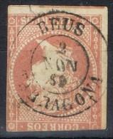 Sello 4 Cuartos Isabel II 1856, Fechador REUS (Tarragona) Num 48 º - 1850-68 Reino: Isabel II