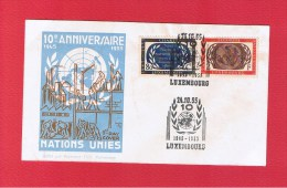 Luxembourg  // Enveloppe 1er Jour  // 10 ème Anniv. Nations Unies // 24/10/55 - FDC