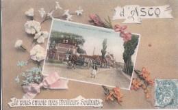59 ASCQ  Belle CPA Fantaisie Meilleurs Souhaits  Photo  BRASSERIE Grande Route Animée ATTELAGE Timbrée 1907 - France
