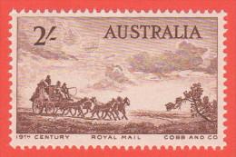 AUS SC #282 MNH  1955 Mail Coach CV $2.25 - 1952-65 Elizabeth II : Pre-Decimals