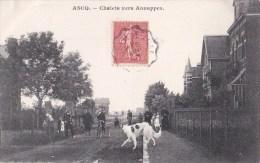 59 ASCQ  Coin Du VILLAGE  Route Animée VELOS Chien  Les CHALETS Vers ANNAPPES  Timbrée 1907 - Sin Clasificación