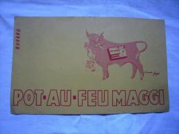 Buvard Pub Illustré Pot Au Feu Maggi Vache D'après Sepo - Alimentare