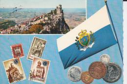 CPSM SAN MARIN SAN MARINO DRAPEAU MONNAIE TIMBRE COLLINE MANQUE TIMBRE - San Marino