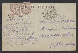 DF / SUR CARTE POSTALE DE VICHY / PAIRE DU TIMBRE TAXE  29 TYPE DUVAL OBL. MONTPELLIER 14 -5 04 HERAULT - Postage Due