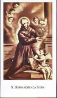 S.  Bernardino di Siena,  Santino con preghiera e vita del Santo