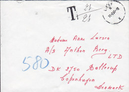 Belgium LIÉGE 1985 Cover Lettreto BALLERUP Denmark T-Cancel TAXE Postage Due (2 Scans) - Portomarken