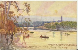 AUSTRALIA 1906- VINTAGE POSTCARD ADELAIDE -FROM THE RIVER TORRENS FROM PAINTING BY FULLWOOD MAILED FOM ARGENTINA POSTM & - Adelaide