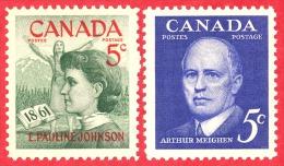 Canada #  392 & 393- 5 Cents - Mint N/H - Dated  1961 -Pauline Johnson & Arthur Meighen/Pauline Johnson E Arthur - 1952-.... Règne D'Elizabeth II