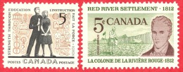 Canada #  396 & 397 - 5 Cents - Mint N/H - Dated  1962 - Students & Lord Selkirk /  Étudiants Et Lord Selkirk - 1952-.... Règne D'Elizabeth II