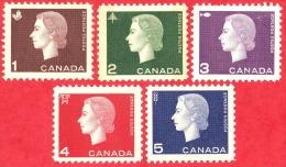 Canada #  401 To 405 - 1 To 5 Cents - Mint - Dated  1962-63 - Cameo - Queen Elizabeth II / Camé - Reine Élizabeth II - 1952-.... Règne D'Elizabeth II