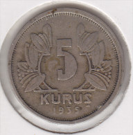 @Y@    Turkije   5  Kurus  1935        (2727) - Turquie