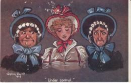 Sydney Carter Artist Signed, 'Under Control' 2 Old Maids Flank Young Woman, C1900s Vintage Tuck Oilette #1740 Postcard - Illustrators & Photographers