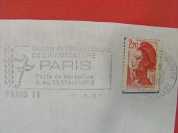 OBLITERATION FRANCAISE FLAMME NO 8937d PARIS 11 EMISE EN 1987 - Agriculture