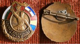 Les Jeux Balkaniques Albania, TIRANA 1946. Balkan Games 1946.  official enamel badge / pin / brooch