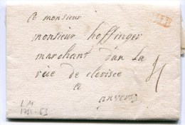 LILLE LAC  Non Datée Taxée 4 Pour ANVERS ( Lenain N°11) - Marcofilia (sobres)