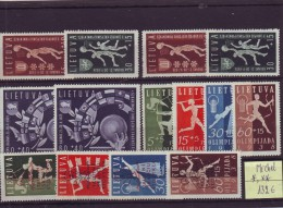 Lithuania, little lot of MH and MNH full sets,1938-39 Mi 429-31; 417-20; 421-4:Olympics,European Basketball Championship