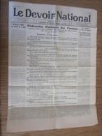 """25 Jui 1939 Journal """"Le Devoir National""""Fédération Nationale Femme Independant De Tout Parti Politique Masculin - Newspapers"""