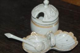 MOUTARDE SEL POIVRE CUILLERE Ancien - Ceramics & Pottery