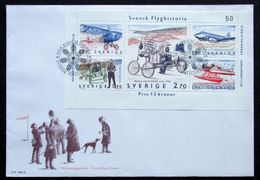 FLIGHT HISTORY AVIATION SWEDEN 1984 MI 1300 1304 FDC SAAB 90 SCANDIA FRENCH MONOPLANE BLERIOT JUNKER PLANE THULIN D WW1 - Avions