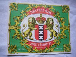 Grande étiquette De Tabac Proost En Brandt Nv Illustrée Lions Amsterdam Hollande 16 X 20 Cm - Tabac (objets Liés)