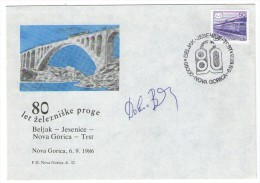 SLOVENIJA COMMEMORATIVE COVER POSTMARK 1986 VLAK TRAIN RAILWAY ZUG EISENBAHN TRENO 80 ANNIVERSARY - Slovenia