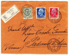 Italien Mi# 240,308-309 Auf R-Brief 6.8.1929 Nach Paderno Como - Italien