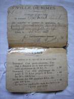 Carte De Cocher Facteur Commissionnaire Devant La Gare De Nîmes 1919 Béchard Louis RARE - Documents Historiques